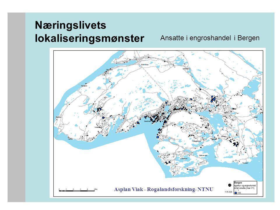 Næringslivets lokaliseringsmønster Asplan Viak - Rogalandsforskning- NTNU Ansatte i engroshandel i Bergen