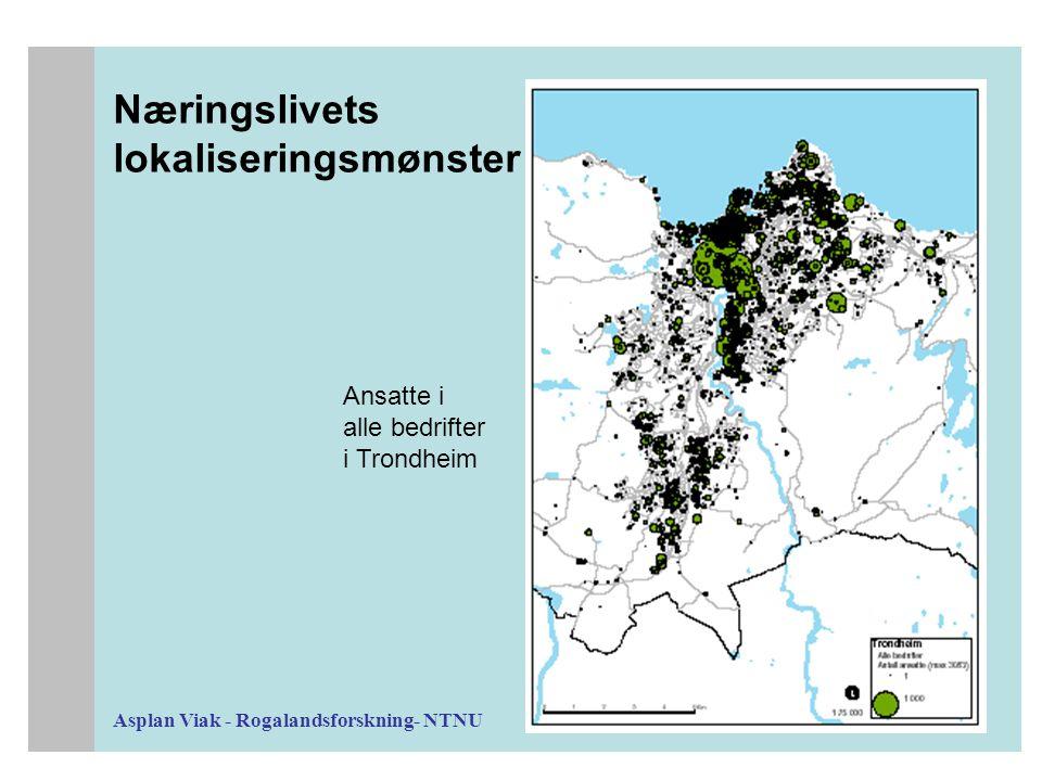 Asplan Viak - Rogalandsforskning- NTNU Næringslivets lokaliseringsmønster Ansatte i alle bedrifter i Trondheim