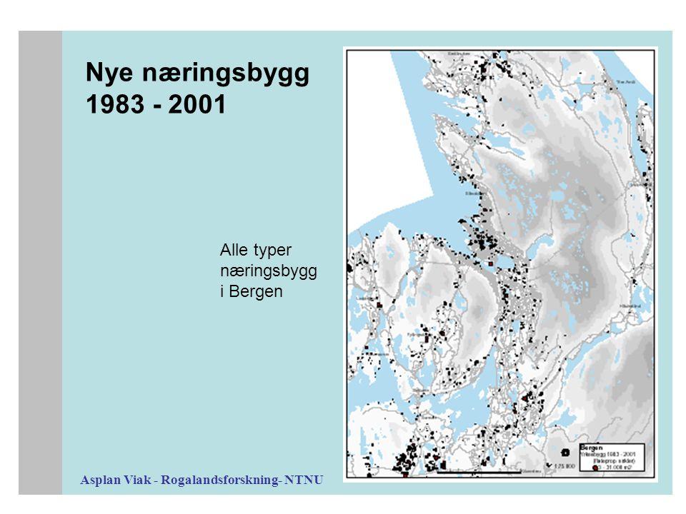 Asplan Viak - Rogalandsforskning- NTNU Nye næringsbygg 1983 - 2001 Alle typer næringsbygg i Bergen
