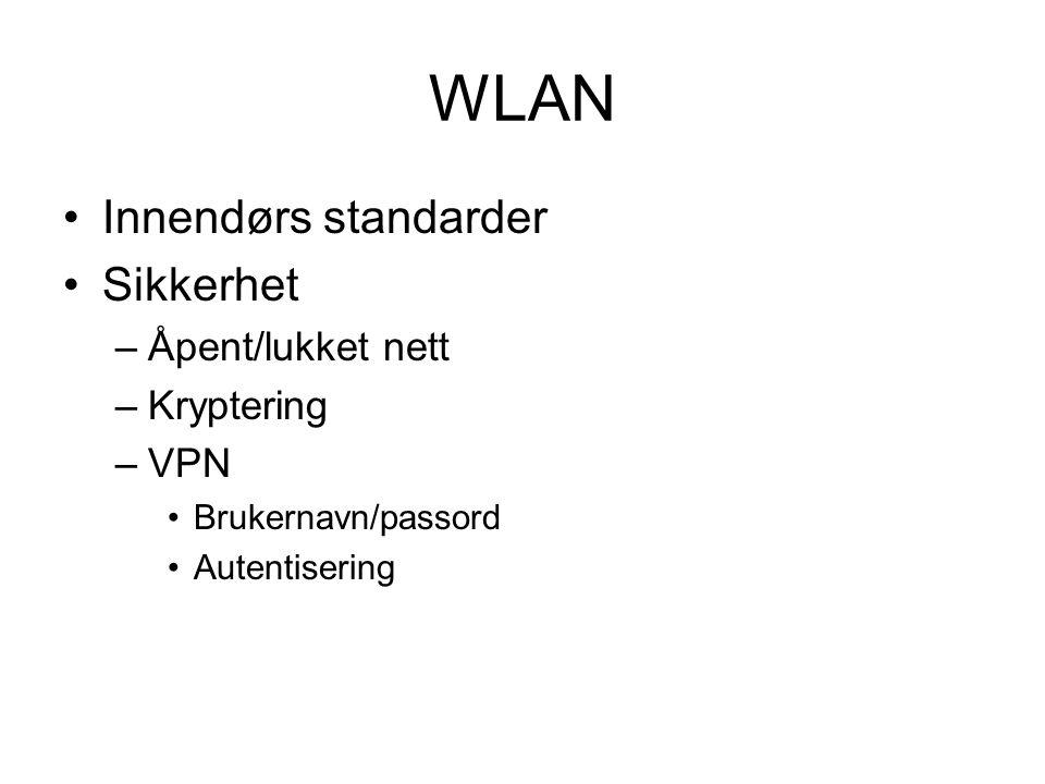 WLAN Innendørs standarder Sikkerhet –Åpent/lukket nett –Kryptering –VPN Brukernavn/passord Autentisering