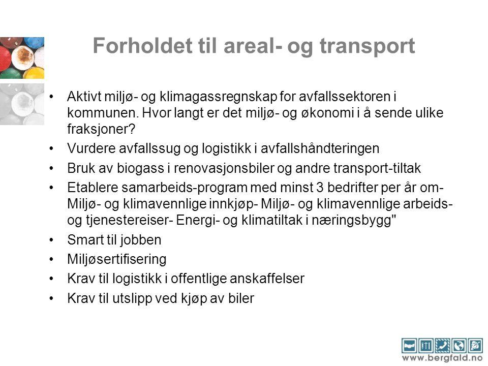 Forholdet til areal- og transport Aktivt miljø- og klimagassregnskap for avfallssektoren i kommunen. Hvor langt er det miljø- og økonomi i å sende uli