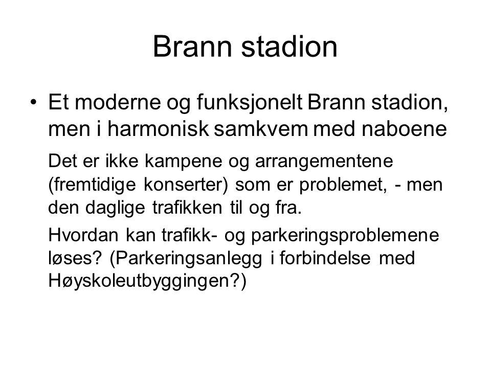 Brann stadion Et moderne og funksjonelt Brann stadion, men i harmonisk samkvem med naboene Det er ikke kampene og arrangementene (fremtidige konserter) som er problemet, - men den daglige trafikken til og fra.