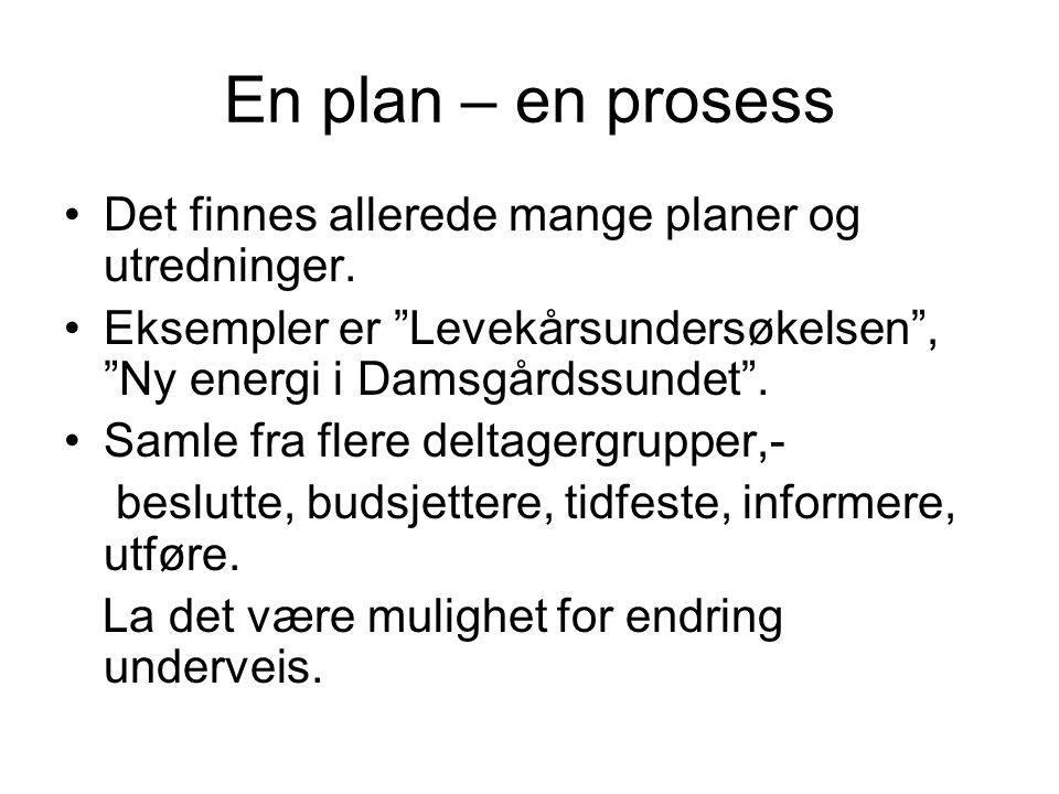 En plan – en prosess Det finnes allerede mange planer og utredninger.