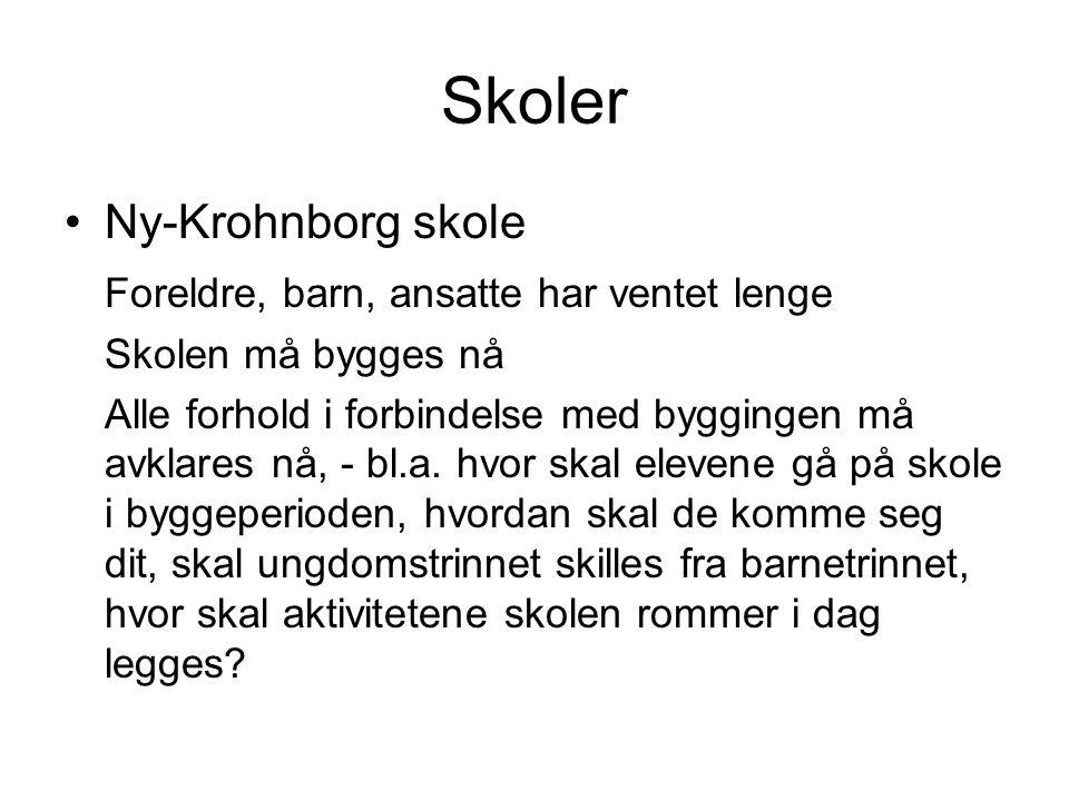 Skoler Ny-Krohnborg skole Foreldre, barn, ansatte har ventet lenge Skolen må bygges nå Alle forhold i forbindelse med byggingen må avklares nå, - bl.a.