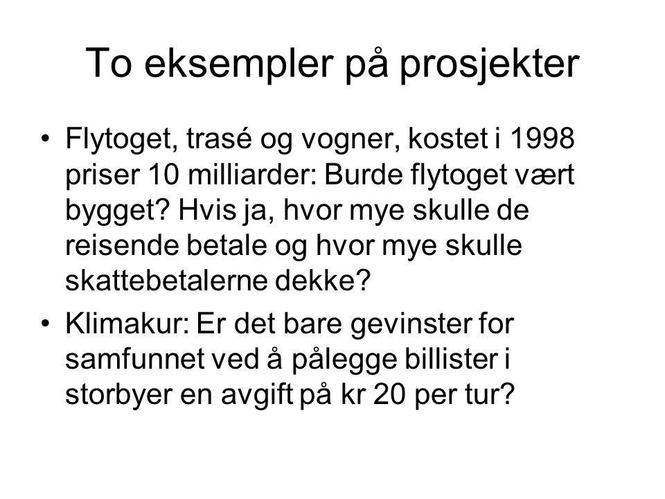 To eksempler på prosjekter Flytoget, trasé og vogner, kostet i 1998 priser 10 milliarder: Burde flytoget vært bygget.