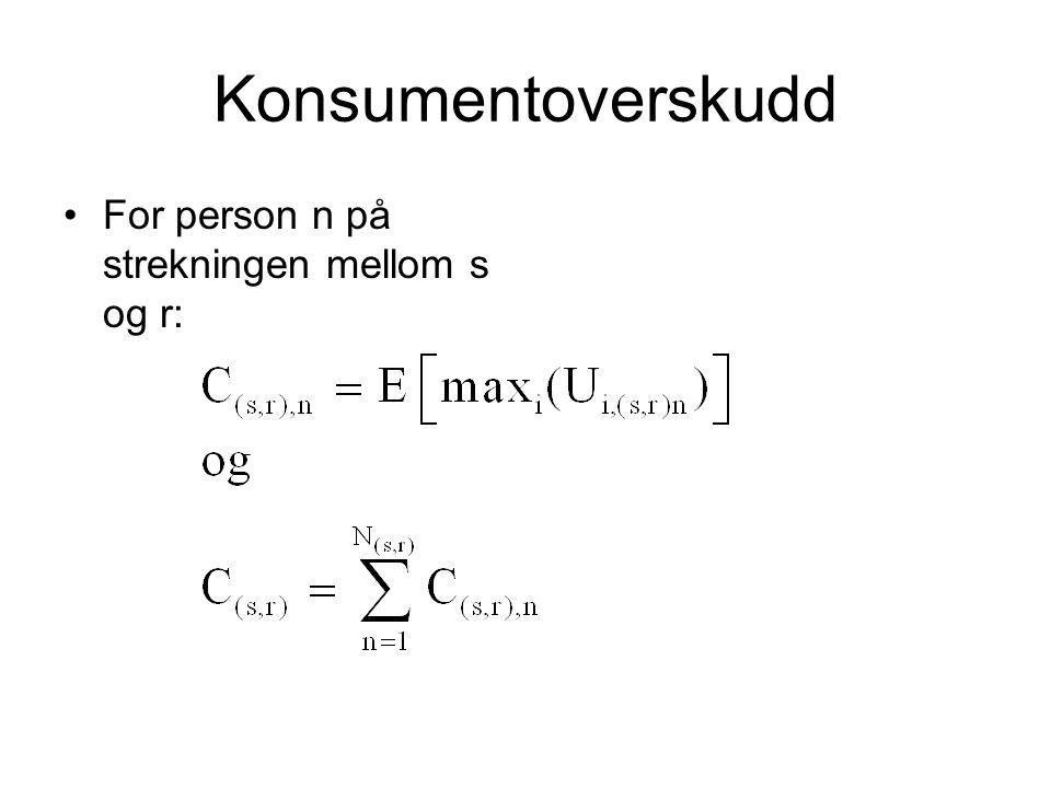 Konsumentoverskudd For person n på strekningen mellom s og r: