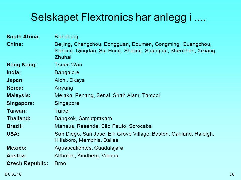 BUS24010 Selskapet Flextronics har anlegg i.... South Africa:Randburg China: Beijing, Changzhou, Dongguan, Doumen, Gongming, Guangzhou, Nanjing, Qingd