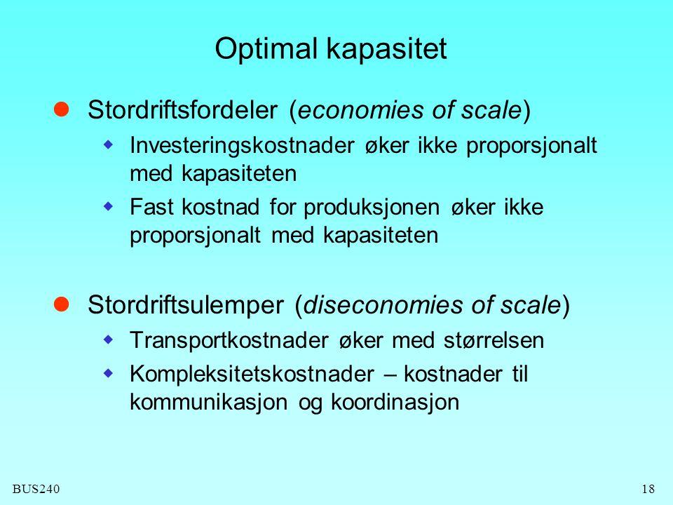 BUS24018 Optimal kapasitet Stordriftsfordeler (economies of scale)  Investeringskostnader øker ikke proporsjonalt med kapasiteten  Fast kostnad for