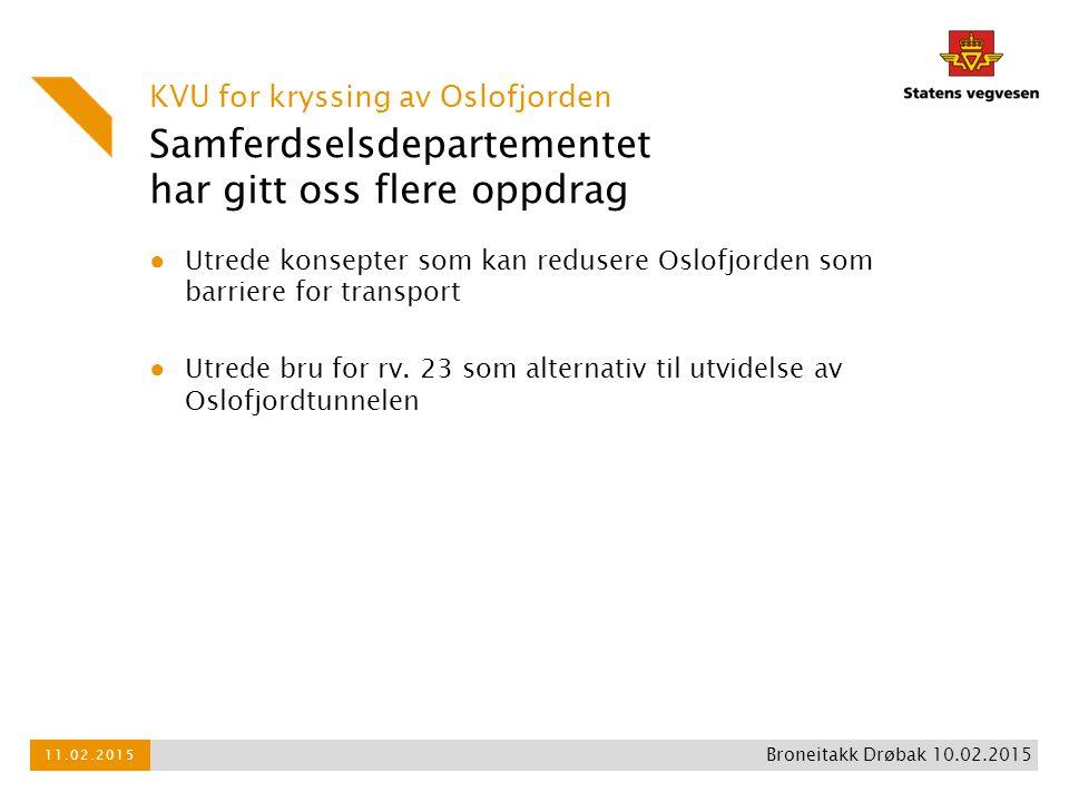 Samferdselsdepartementet har gitt oss flere oppdrag KVU for kryssing av Oslofjorden 11.02.2015 Broneitakk Drøbak 10.02.2015 ● Utrede konsepter som kan