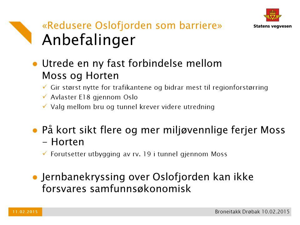 Anbefalinger ● Utrede en ny fast forbindelse mellom Moss og Horten Gir størst nytte for trafikantene og bidrar mest til regionforstørring Avlaster E18