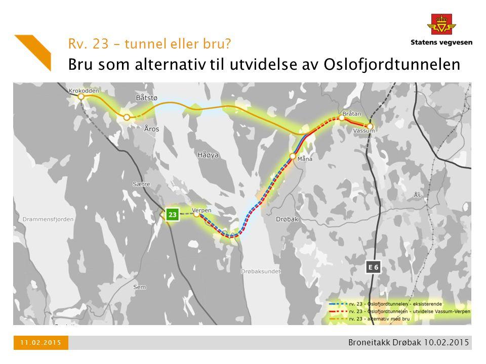 Bru som alternativ til utvidelse av Oslofjordtunnelen Rv. 23 – tunnel eller bru? 11.02.2015 Broneitakk Drøbak 10.02.2015