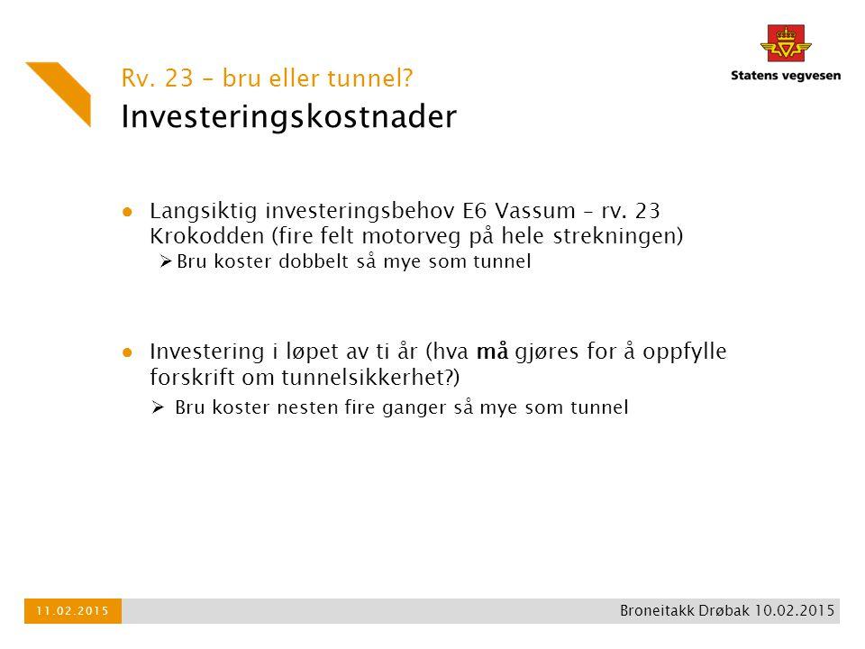 Investeringskostnader ● Langsiktig investeringsbehov E6 Vassum – rv. 23 Krokodden (fire felt motorveg på hele strekningen)  Bru koster dobbelt så mye