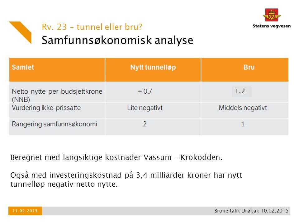 Samfunnsøkonomisk analyse Rv. 23 – tunnel eller bru? 11.02.2015 Broneitakk Drøbak 10.02.2015 Beregnet med langsiktige kostnader Vassum – Krokodden. Og
