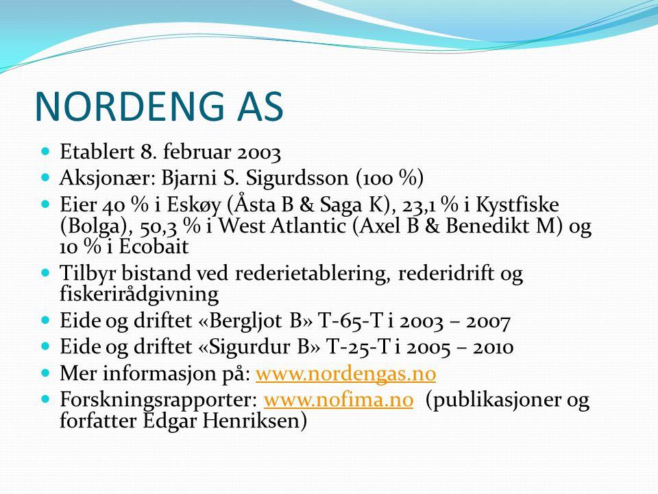 NORDENG AS Etablert 8.februar 2003 Aksjonær: Bjarni S.