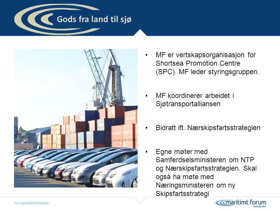 www.maritimt-forum.no MF er vertskapsorganisasjon for Shortsea Promotion Centre (SPC). MF leder styringsgruppen. MF koordinerer arbeidet i Sjøtranspor