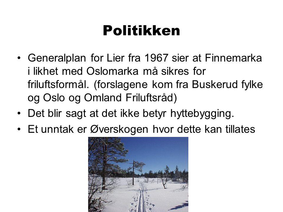 Politikken Generalplan for Lier fra 1967 sier at Finnemarka i likhet med Oslomarka må sikres for friluftsformål.