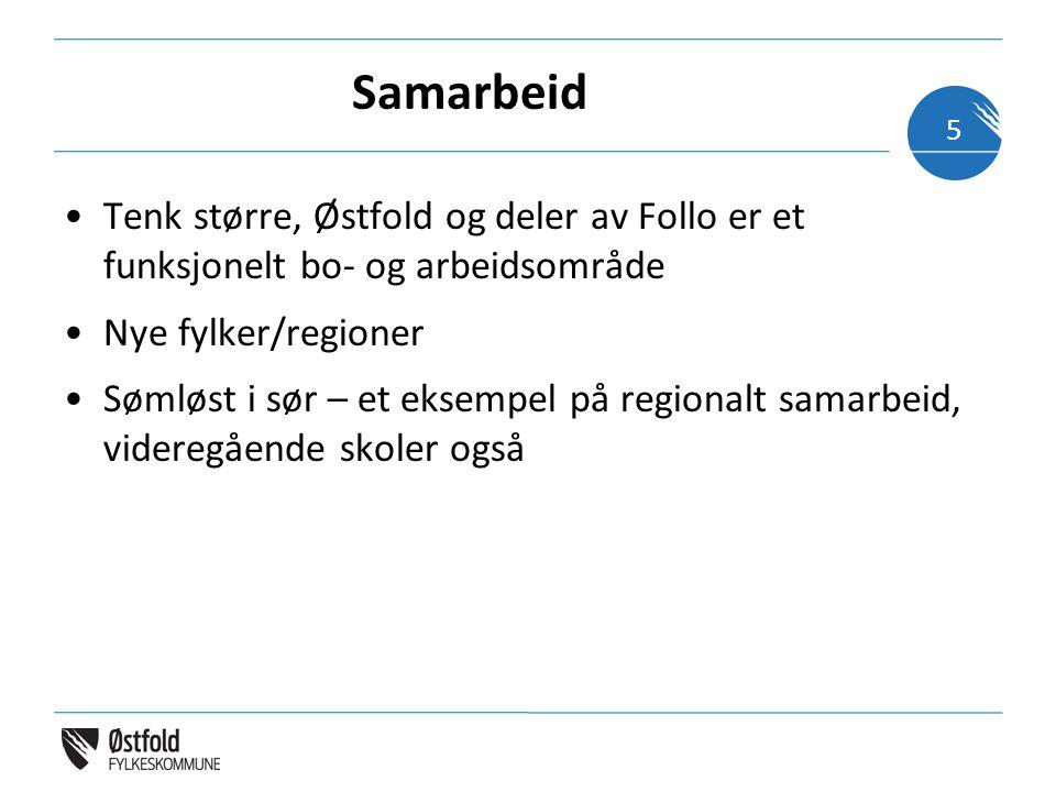 Samarbeid Tenk større, Østfold og deler av Follo er et funksjonelt bo- og arbeidsområde Nye fylker/regioner Sømløst i sør – et eksempel på regionalt samarbeid, videregående skoler også 5
