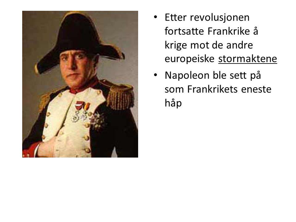 Etter revolusjonen fortsatte Frankrike å krige mot de andre europeiske stormaktene Napoleon ble sett på som Frankrikets eneste håp
