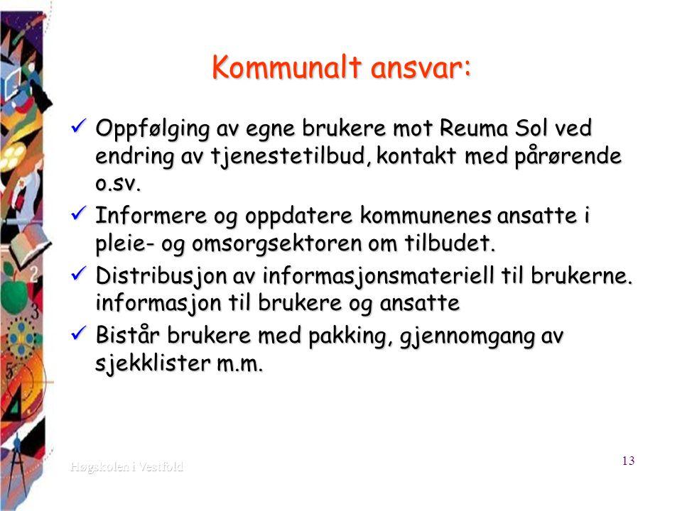 Kommunalt ansvar: Oppfølging av egne brukere mot Reuma Sol ved endring av tjenestetilbud, kontakt med pårørende o.sv.