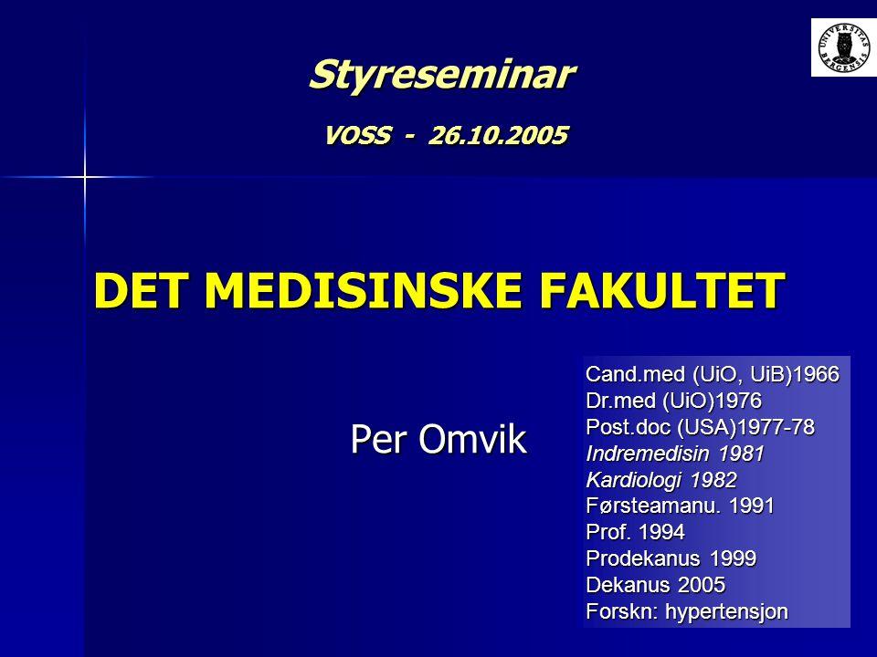 Styreseminar VOSS - 26.10.2005 DET MEDISINSKE FAKULTET Per Omvik Cand.med (UiO, UiB)1966 Dr.med (UiO)1976 Post.doc (USA)1977-78 Indremedisin 1981 Kard