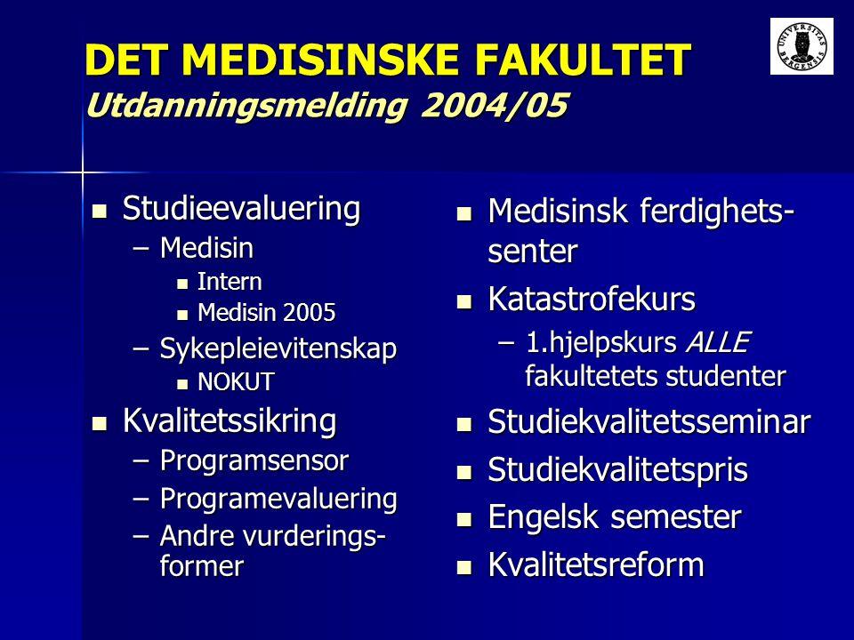 Studieevaluering Studieevaluering –Medisin Intern Intern Medisin 2005 Medisin 2005 –Sykepleievitenskap NOKUT NOKUT Kvalitetssikring Kvalitetssikring –