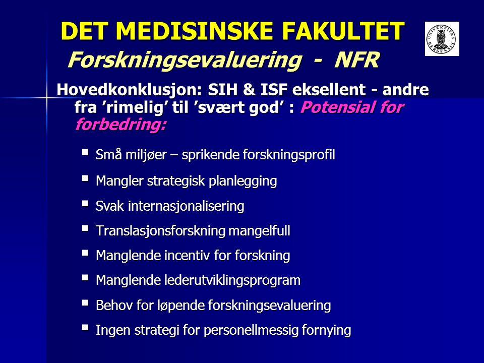 DET MEDISINSKE FAKULTET Forskningsevaluering - NFR Hovedkonklusjon: SIH & ISF eksellent - andre fra 'rimelig' til 'svært god' : Potensial for forbedri