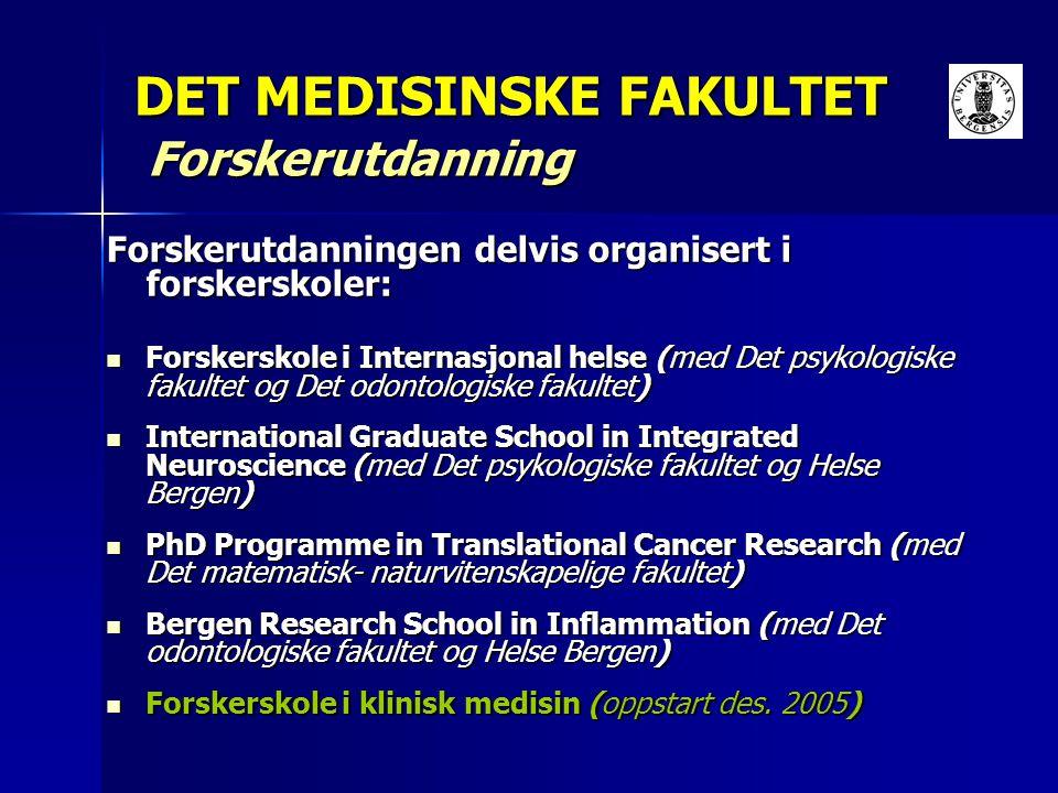 DET MEDISINSKE FAKULTET Forskerutdanning Forskerutdanningen delvis organisert i forskerskoler: Forskerskole i Internasjonal helse (med Det psykologisk