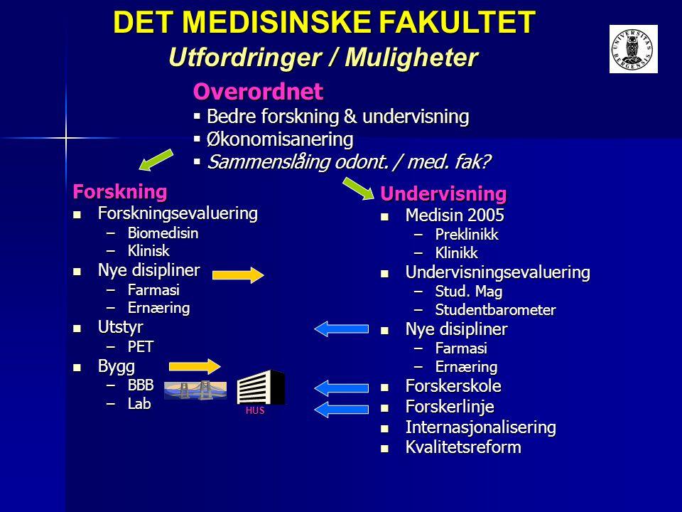 Overordnet  Bedre forskning & undervisning  Økonomisanering  Sammenslåing odont. / med. fak? DET MEDISINSKE FAKULTET DET MEDISINSKE FAKULTET Utford