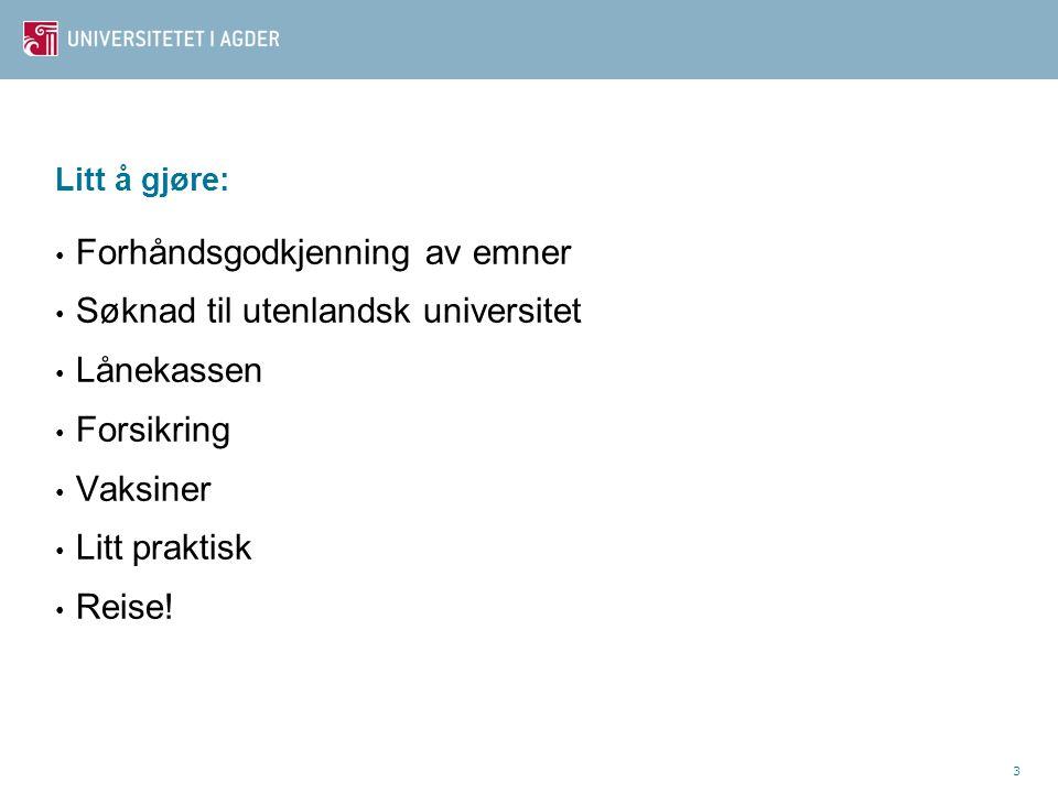 4 Faglig godkjenning Bruk skjemaet Søknad om godkjenning av delstudier i utlandet www.uia.no/utveksling www.uia.no/utveksling Forhåndsgodkjenningen er din faglige garanti: Alle emner må føres opp.