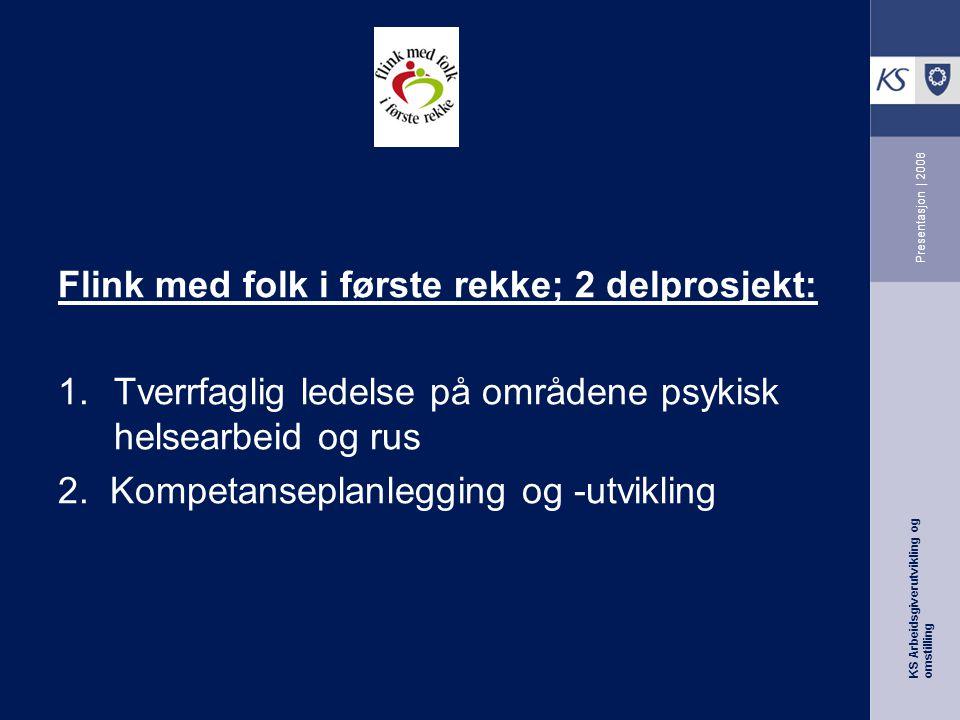 KS Arbeidsgiverutvikling og omstilling Presentasjon | 2008 Flink med folk i første rekke; 2 delprosjekt: 1.Tverrfaglig ledelse på områdene psykisk helsearbeid og rus 2.