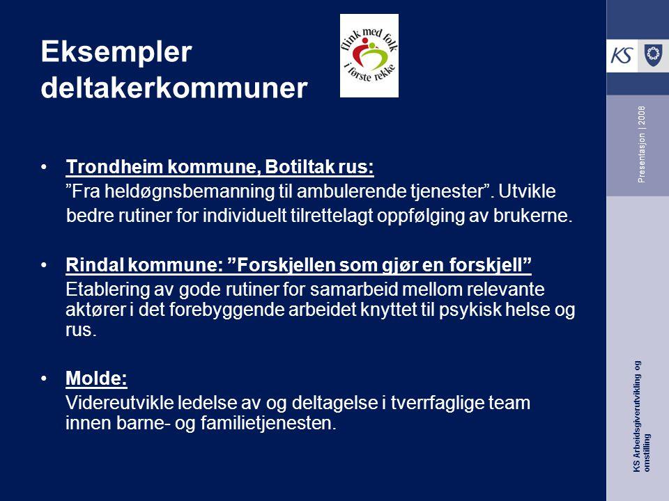 KS Arbeidsgiverutvikling og omstilling Presentasjon | 2008 Eksempler deltakerkommuner Trondheim kommune, Botiltak rus: Fra heldøgnsbemanning til ambulerende tjenester .