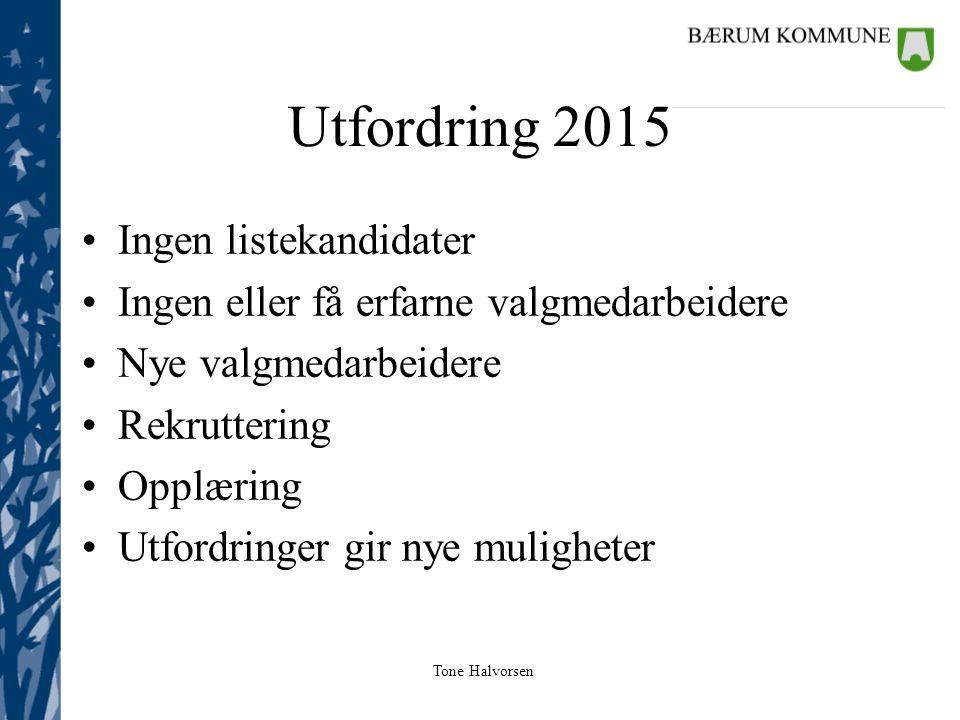 Tone Halvorsen Utfordring 2015 Ingen listekandidater Ingen eller få erfarne valgmedarbeidere Nye valgmedarbeidere Rekruttering Opplæring Utfordringer