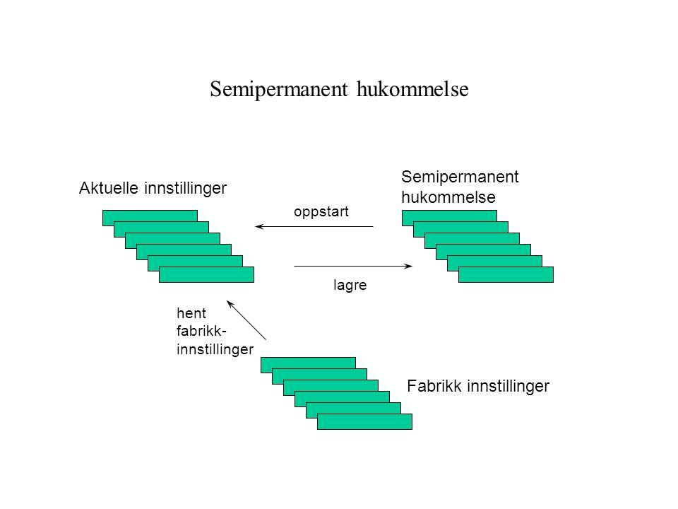 Semipermanent hukommelse Fabrikk innstillinger Aktuelle innstillinger Semipermanent hukommelse oppstart lagre hent fabrikk- innstillinger