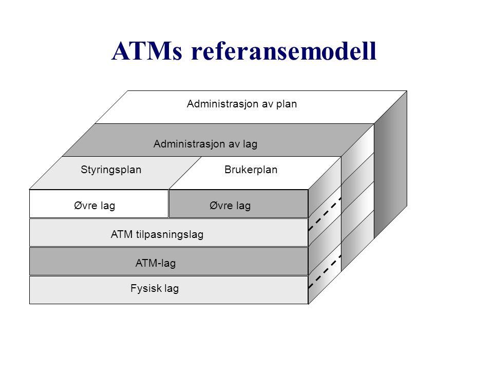 ATMs referansemodell ATM tilpasningslag Øvre lag Styringsplan ATM-lag Brukerplan Administrasjon av lag Administrasjon av plan Fysisk lag
