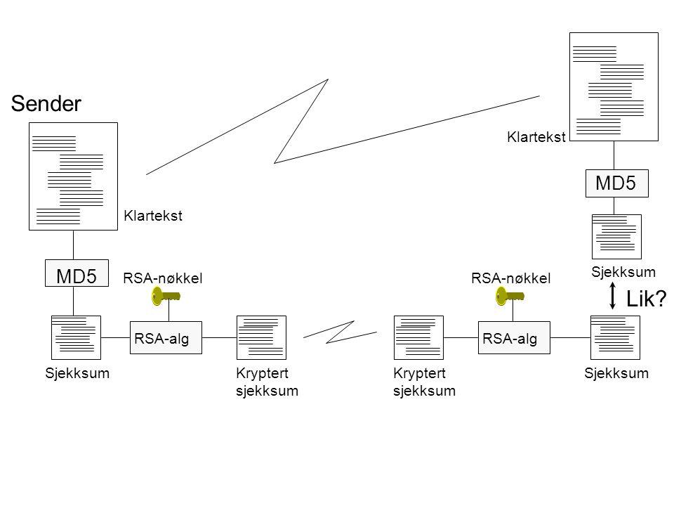 Sender MD5 RSA-alg RSA-nøkkel RSA-alg RSA-nøkkel MD5 Lik? Klartekst SjekksumKryptert sjekksum Kryptert sjekksum Sjekksum