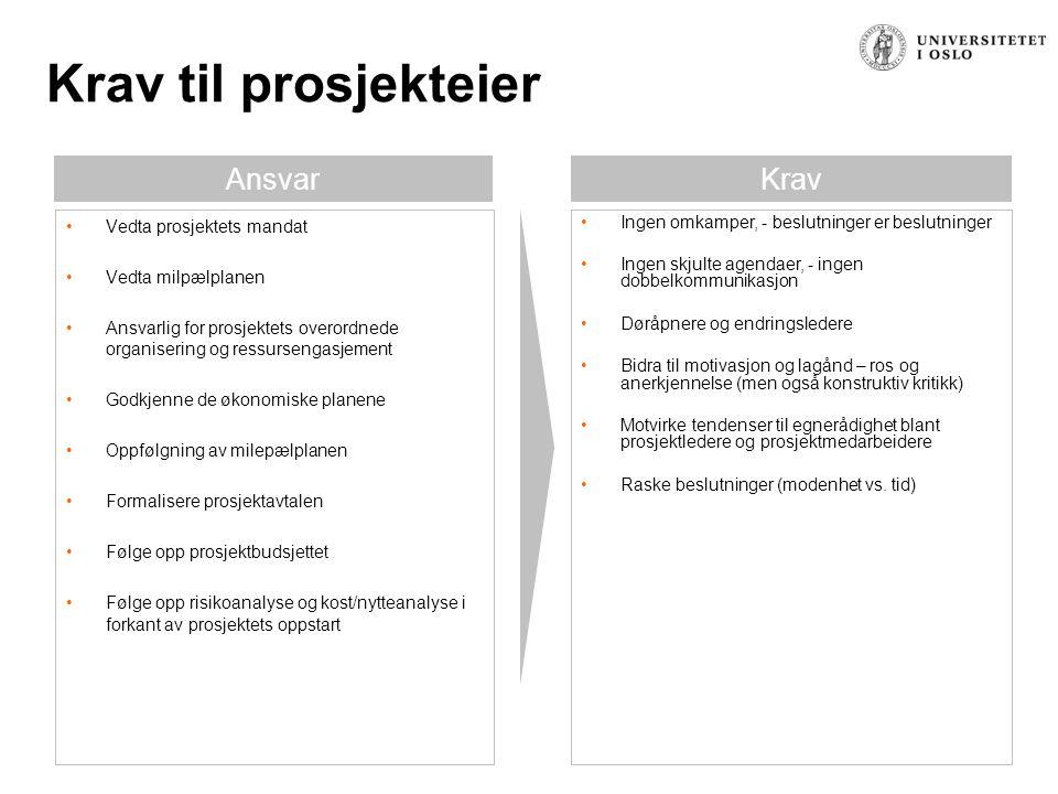 Krav til styringsgruppen AnsvarKrav Vedta planene for prosjektet, herunder arbeidsfordeling og ressursbruk Ta eierskap til prosjektets målsetning, omfang og fremgangsmåte Påse at prosjektet blir prioritert ut fra virksomhetens behov Følge opp prosjektbudsjettet Sikre at prosjektets leveranser blir overført til linjen Kommunisere retning og strategi Overvåke prosjektets fremdrift Oppfølgning av rollefordeling Godkjenne tiltak som må iverksettes for å sikre fremdrift i prosjektet Påse at riktige personer blir valgt til prosjektoppgavene og at disse setter av nødvendig tid Følge opp beslutningsprosessene og påse at disse fungerer som avtalt Håndtere saker som eskaleres av prosjektlederen eller kjerneteamet Finne løsninger hvis ressurstilgangen svikter Godkjenne prosjektplaner og leveranser Godkjenne vesentlige endringer i prosjektmandatet og prosjektplaner Utøve kvalitetskontroll av planer, framdrift og resultater Sluttrapportering Ingen omkamper, - beslutninger er beslutninger Ingen skjulte agendaer, - ingen dobbelkommunikasjon Døråpnere og endringsledere Bidra til motivasjon og lagånd – ros og anerkjennelse (men også konstruktiv kritikk) Motvirke tendenser til egnerådighet blant prosjektledere og prosjektmedarbeidere Raske beslutninger (modenhet vs.