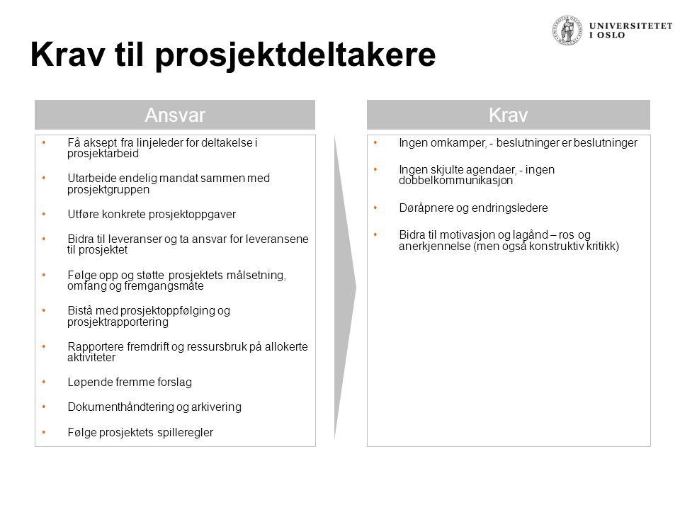 Overordnede retningslinjer til prosjektdeltakerne OKIkke OK Endre verktøy og maler.