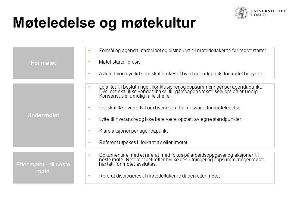 Møteledelse og møtekultur Formål og agenda utarbeidet og distribuert til møtedeltakerne før møtet starter Møtet starter presis Avtale hvor mye tid som