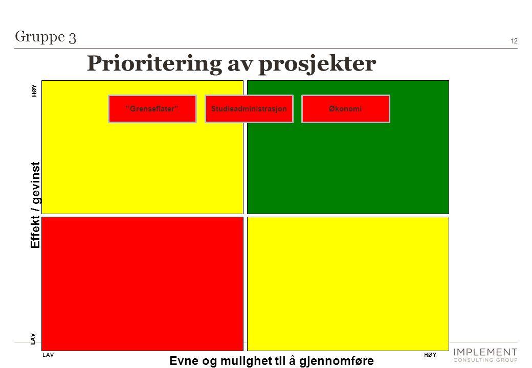 12 Gruppe 3 Evne og mulighet til å gjennomføre Effekt / gevinst HØYLAV HØY LAV ØkonomiStudieadministrasjon Grenseflater Prioritering av prosjekter