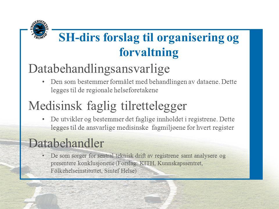 SH-dirs forslag til organisering og forvaltning Databehandlingsansvarlige Den som bestemmer formålet med behandlingen av dataene. Dette legges til de