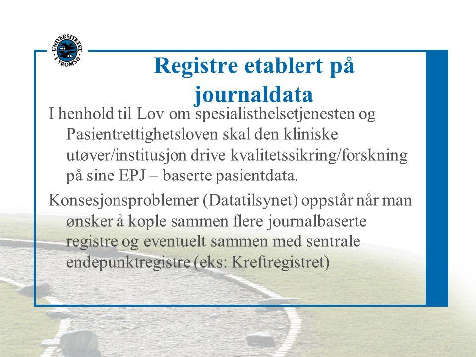 Registre etablert på journaldata I henhold til Lov om spesialisthelsetjenesten og Pasientrettighetsloven skal den kliniske utøver/institusjon drive kvalitetssikring/forskning på sine EPJ – baserte pasientdata.
