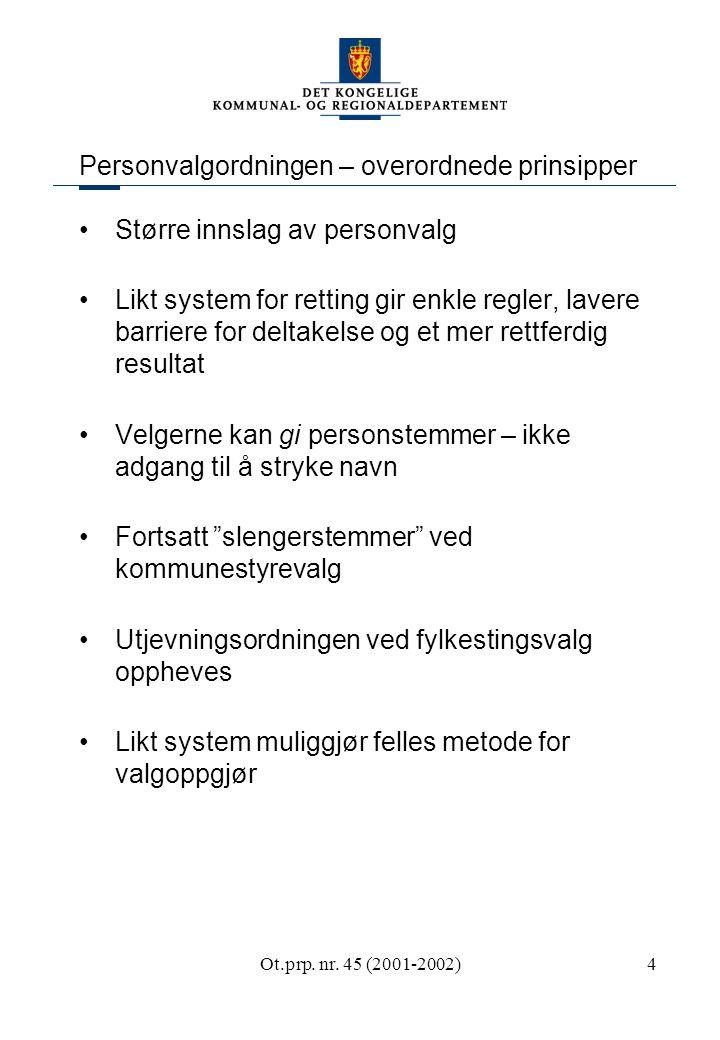 Ot.prp. nr. 45 (2001-2002)4 Personvalgordningen – overordnede prinsipper Større innslag av personvalg Likt system for retting gir enkle regler, lavere
