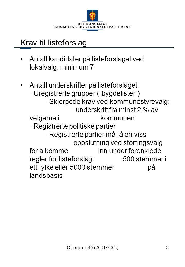Ot.prp. nr. 45 (2001-2002)8 Krav til listeforslag Antall kandidater på listeforslaget ved lokalvalg: minimum 7 Antall underskrifter på listeforslaget: