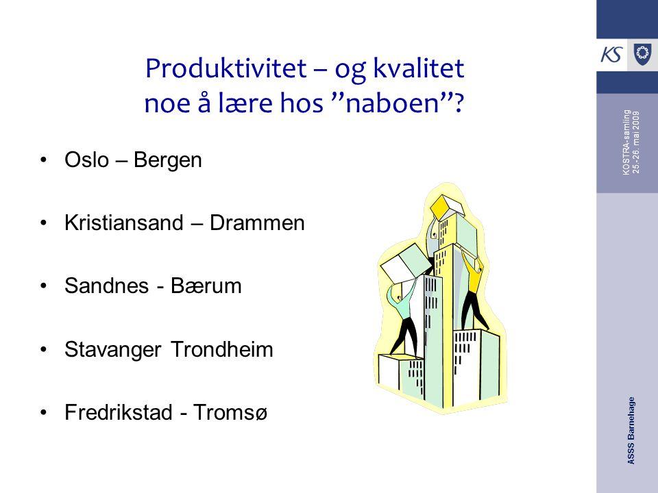 """ASSS Barnehage KOSTRA-samling 25.-26. mai 2009 Produktivitet – og kvalitet noe å lære hos """"naboen""""? Oslo – Bergen Kristiansand – Drammen Sandnes - Bær"""