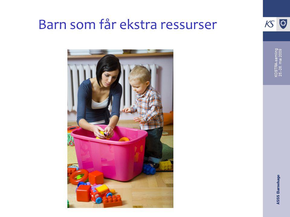ASSS Barnehage KOSTRA-samling 25.-26. mai 2009 Barn som får ekstra ressurser