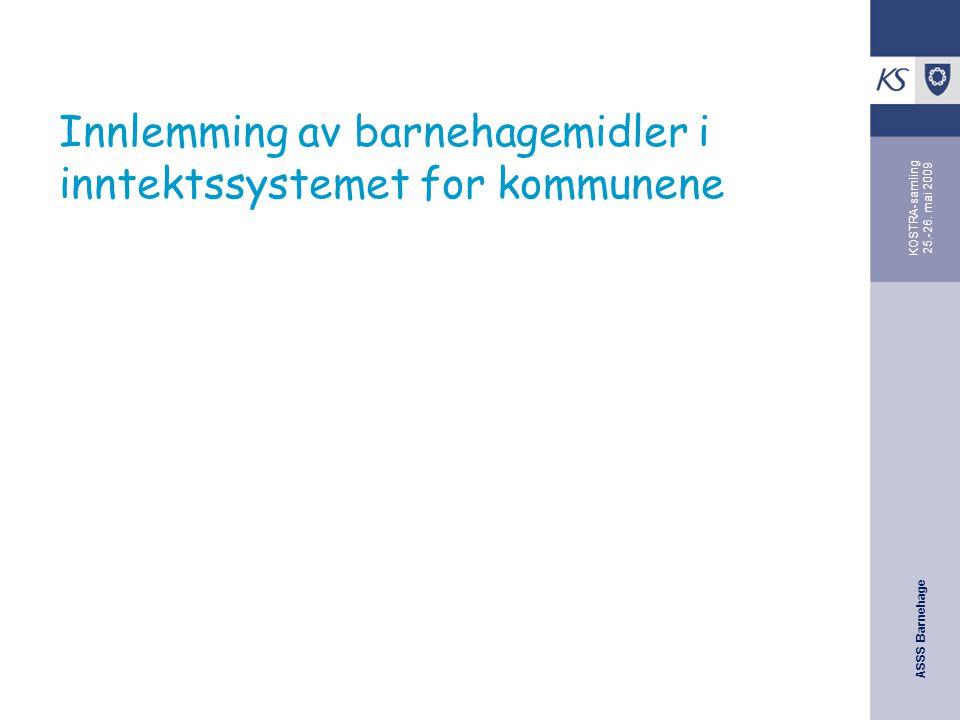 ASSS Barnehage KOSTRA-samling 25.-26. mai 2009 Innlemming av barnehagemidler i inntektssystemet for kommunene