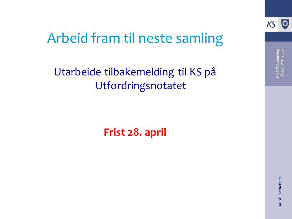 ASSS Barnehage KOSTRA-samling 25.-26. mai 2009 Arbeid fram til neste samling Utarbeide tilbakemelding til KS på Utfordringsnotatet Frist 28. april