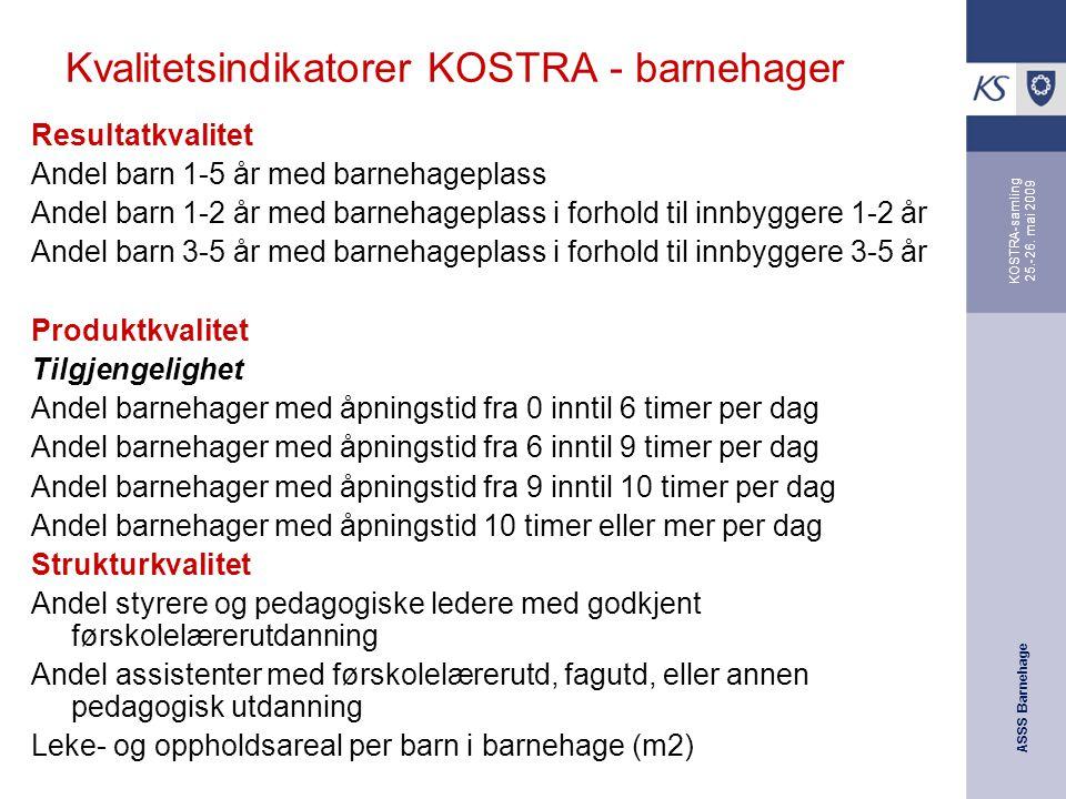 ASSS Barnehage KOSTRA-samling 25.-26. mai 2009 Kvalitetsindikatorer KOSTRA - barnehager Resultatkvalitet Andel barn 1-5 år med barnehageplass Andel ba