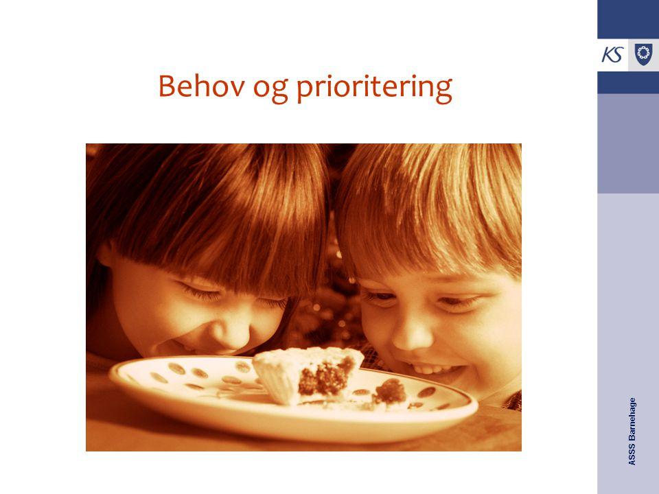 ASSS Barnehage Behov og prioritering