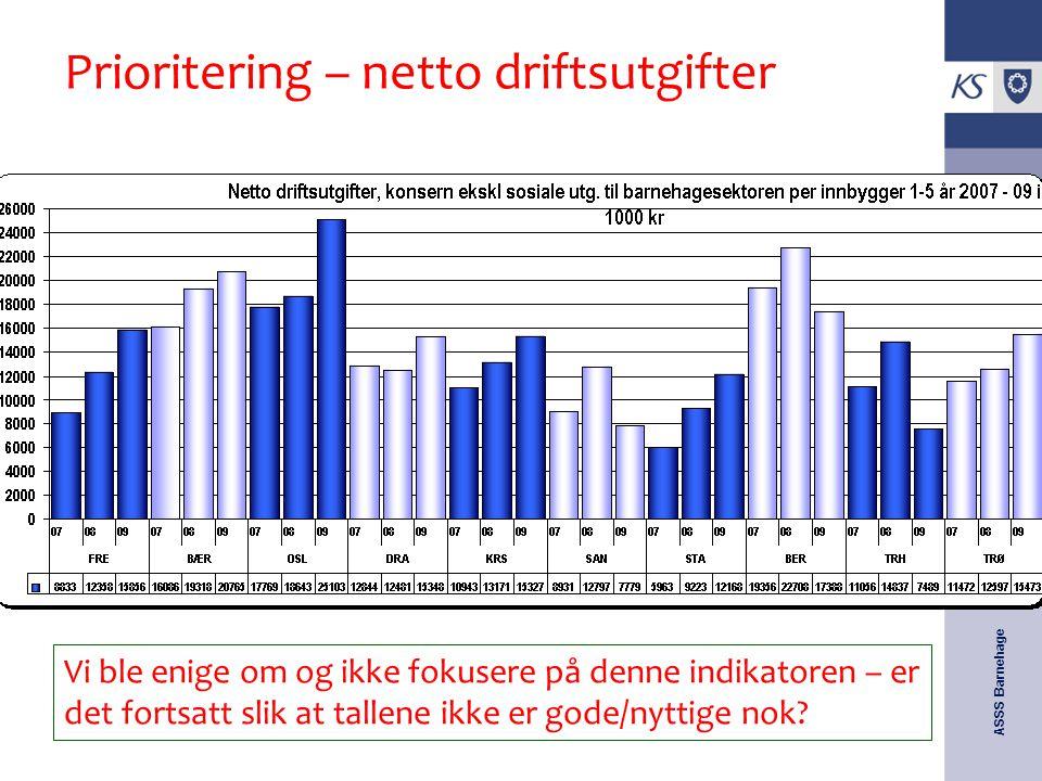 ASSS Barnehage KOSTRA-samling 25.-26. mai 2009 Prioritering – netto driftsutgifter Vi ble enige om og ikke fokusere på denne indikatoren – er det fort